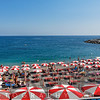 High Angle View of a Beach with Rows of Beach Umbrellas and chairs, Amali, Campania, Italy