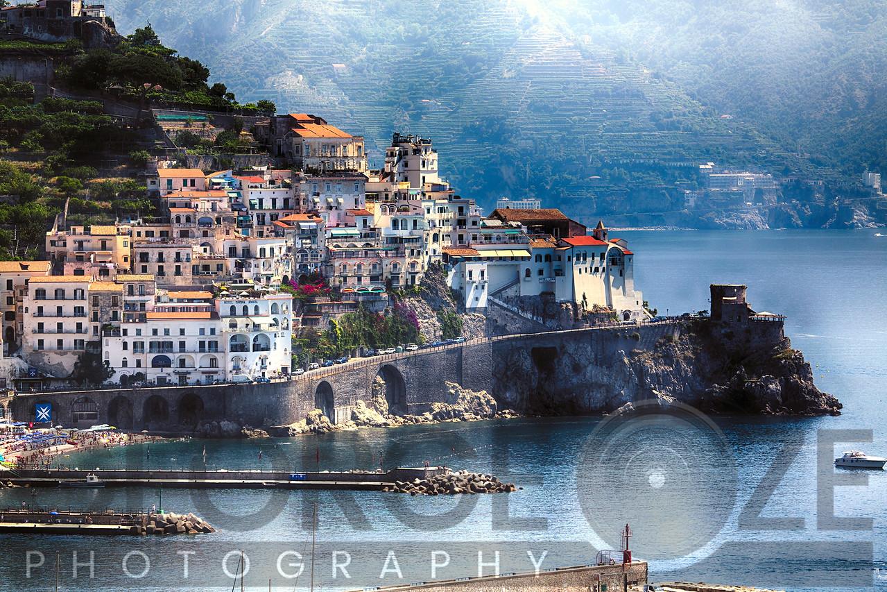 High Angle View of a Coastal Town, Amalfi, Campania, Italy