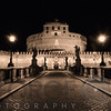 Low Angle Nighttime View of the Castle of the Holy Angel, Rome, Lazio, Italy