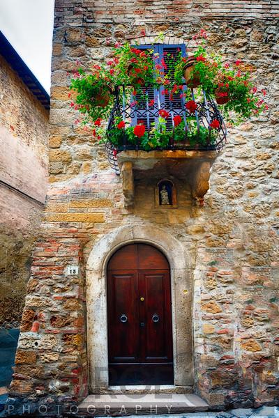Medieval House Entrance, Pienza, Tuscany, Italy