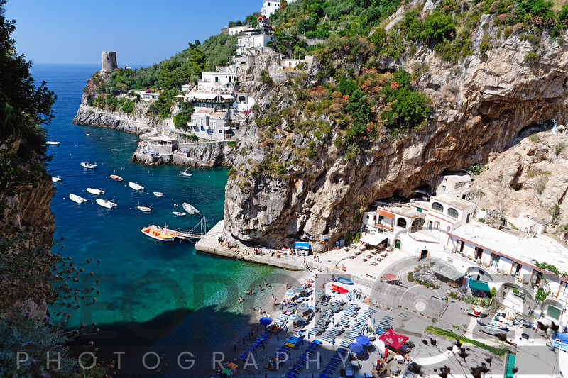 High Angle View of a Small Beach at the Amalfi Coast, Praiano, Campania, Italy