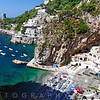High Angle View of a Small Beach at the Amalfi Coast, Praiano, Campania, Italy