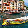 Colorful Traditional Boats in a Harbor, Portofino, Liguria, Italy