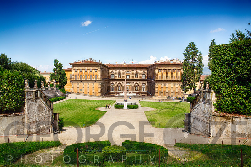 View of the Pitti Palace from the Boboli Gardens, Florence, Italy