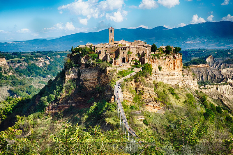 View of an Ancient Hill top Town, Civita di Bagnoregio, Umbria, Italy