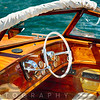 Classic Motorboat Steering Wheel and Controls, Lake Como, Italy