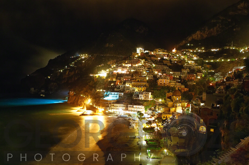 High Angle View of Positano Nightscape, Campania, Italy