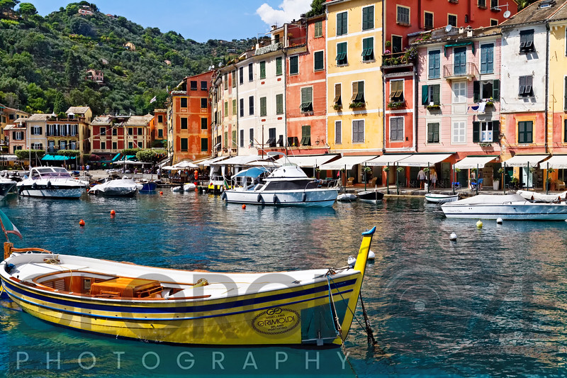 Portofino Inner Harbor View with Small Boats, Liguria, Italy