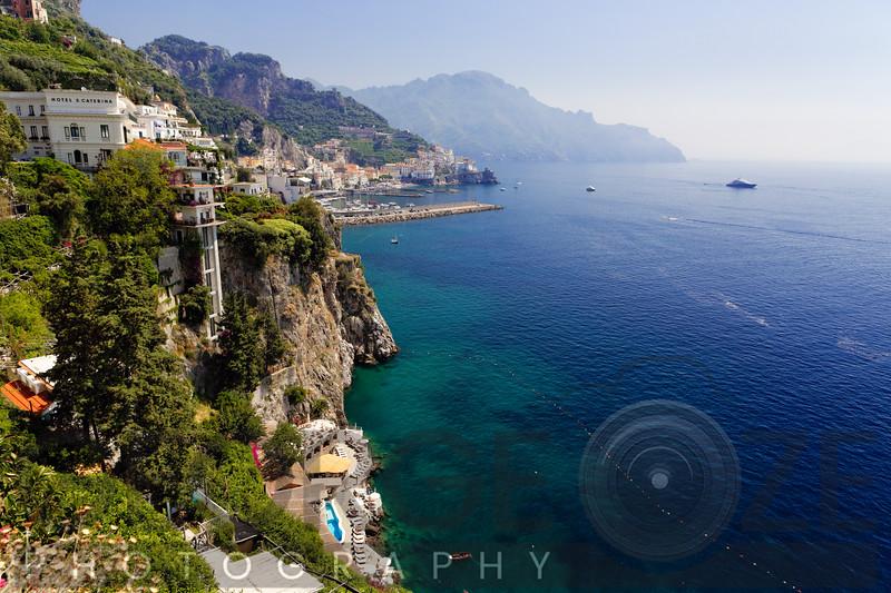 High Angle View of the Amalfi Coastline at Amalfi, Campania, Italy
