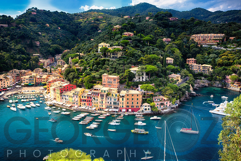 HighAngle View of Portofino with the Inner Harbor, Liguria, Italy