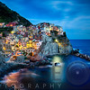 Cliffside Town at Night, Manarola, Liguria, Italy.