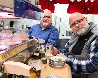 Jim and Andy dinging at Roto-Sushi restaurant; Roppongi.