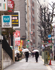 Street Scene in Rain; Okubo.