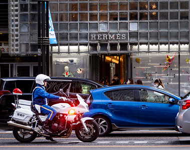Hermes Store and Motorcycle Police; Ginza Shopping District