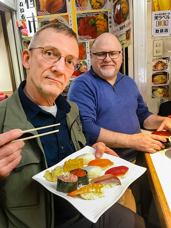 Mark and Jim Rice.  Delicious seafood lunch; Tsukiji Outer Fish Market