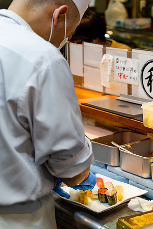 My delicious order being prepared; Seafood Restaurant; Tsukiji Outer Fish Market
