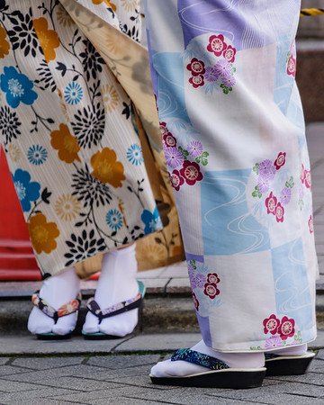 Detail of Kimono; Tabi socks; and Zori sandals.  Sensoji Temple area; Asakusa