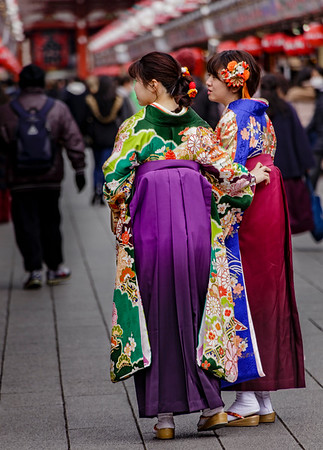 Kimonos and Hakama (divided skirt); Sensoji Temple area; Asakusa