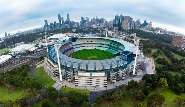 Melbourne Cricket Ground (MCG) photographed by DJI Mavic Mini 2 Drone. Pano stitched in Lightroom Classic. Melbourne Victoria Australia