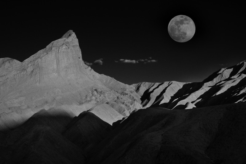 Manly Beacon, Death Valley and Moon