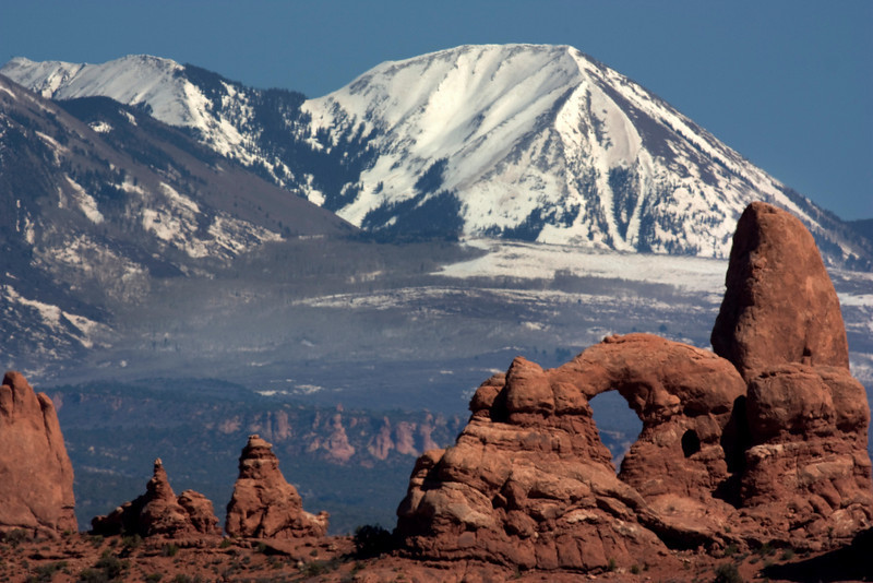 LaSal Mountains in the background of Turret Arch in Arches National Park. April 26, 2010.