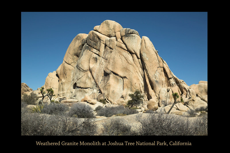 "Joshua Tree National Park Granite monolith weathered by water, wind and time.  36"" x 24"" or 18"" x 12"" print"