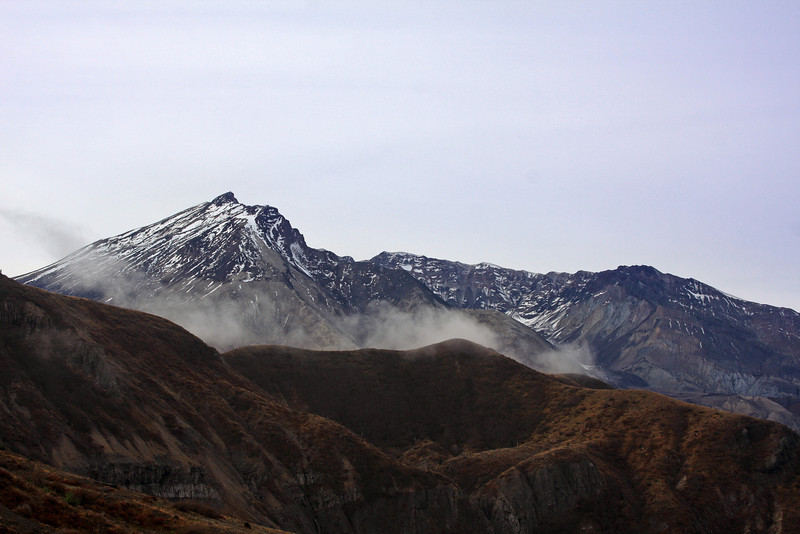 Mount Saint Helens in mid-Washington State on not such a dramatic day as in 1980 when the top half of the mountain blew away.  Oct 20, 2009