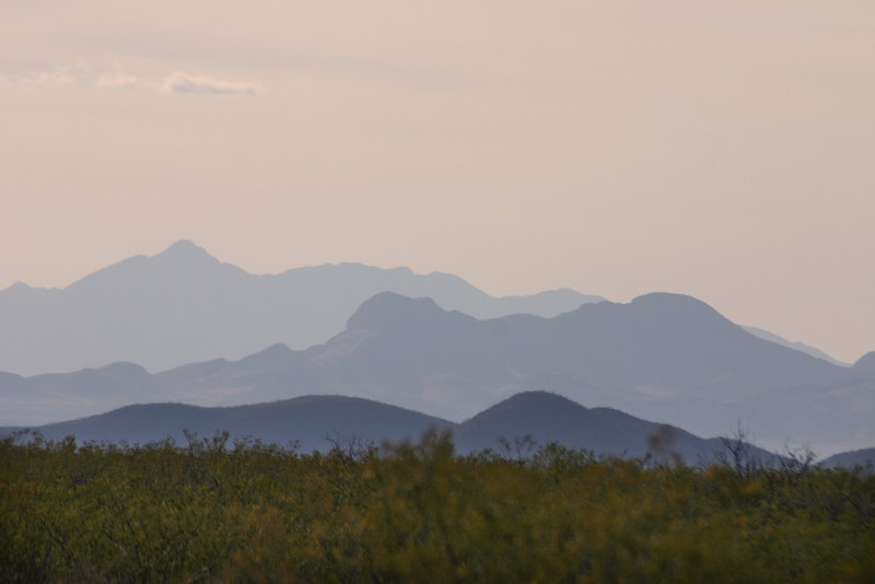 Chiricahua Mountains, southern Arizona in haze.