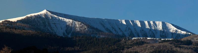 Early morning light on Little Horseshoe Mountain near Mount Pleasant, Utah. April 21, 2012. Panorama