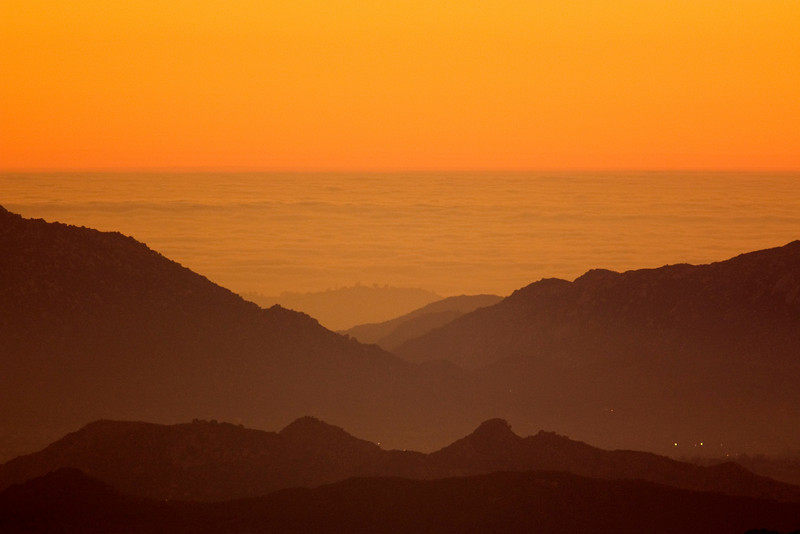 Looking out over the LA Basin from the slopes of Mt. San Jacinto (below Idyllwild, CA) at Sunset. Dec 2008
