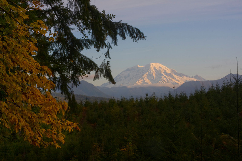 Mt. Rainier as seen in the morning from the highway to Mt. St. Helens. Oct 20, 2009 Washington USA