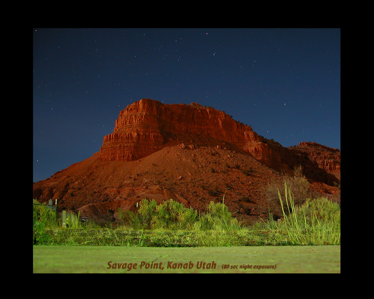 Savage Point in Kanab, Utah taken in the middle of the night with light from the moon.