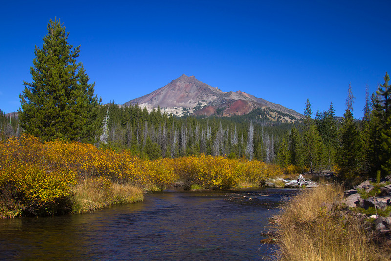 Fall colors and Broken Top with Fall Creek in foreground, in the Three Sisters Wilderness of central Oregon. October 19, 2010.