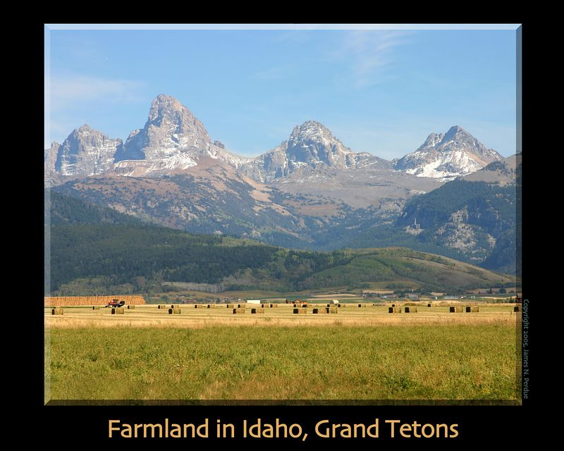 Grand Tetons viewed from the Western slope and Farmlands. September 2005