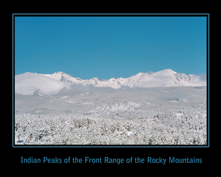 Indian Peaks of the Front Range of the Rocky Mountains taken from my previous home on Ridge Road in Nederland, CO., covered completely in snow.