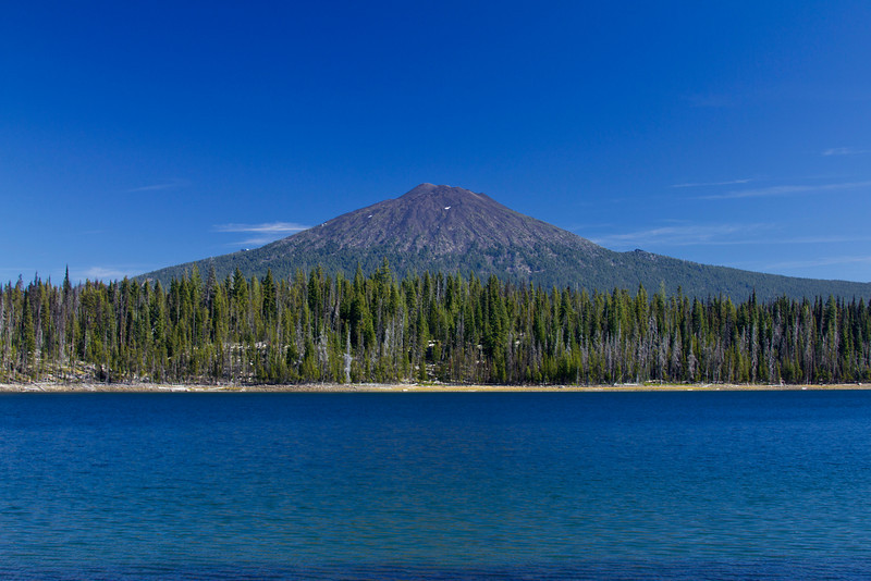 Mount Bachelor (a shield volcano) from Elk Lake.  Looking East. Oct 19, 2010