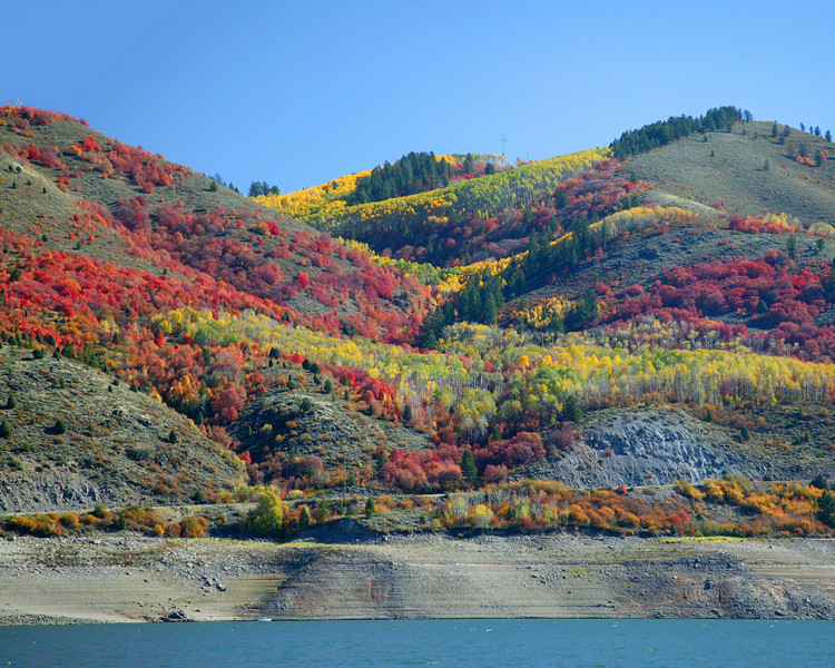 Palisades Reservoir and fall colors, east Idaho.