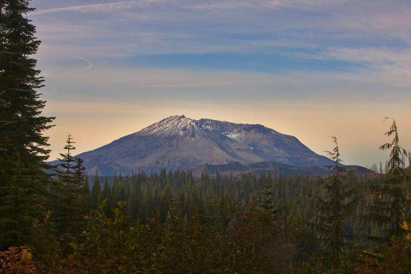 Mount Saint Helens and surrounding forest on the morning of October 20, 2009