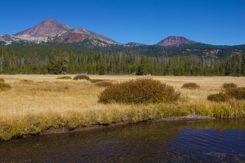 Broken Top and Ball Butte (on right) with Fall Creek in foreground on October 19, 2010. Central Oregon.
