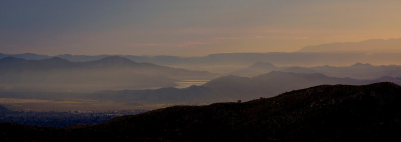 Mountains beyond Hemet at Sunset, Jan 2009, looking southwest from above Silent Valley Club.