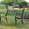 Beautiful bench in a summer garden.