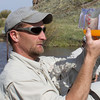 Measuring the captured fertilized eggs for the Arctic Grayling project. Red Rock Creek, MT. May 16, 2012.