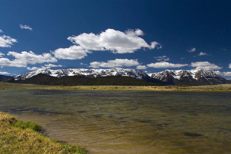 View of Centennial Mountains (Mount Taylor and Sheep Mountain) from Culver Pond on windy day. May 24, 2013 Red Rock Lakes National Wildlife Refuge, Montana.