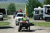 """Johnny (""""Rocket"""") Shepard leads the Fourth of July Parade at RedRock RV Park near Yellowstone National Park on July 2, 2012."""