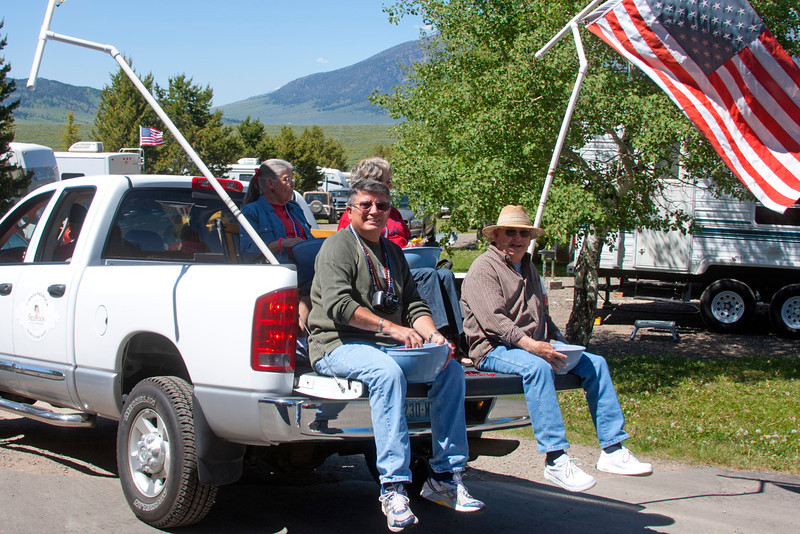 Stever Rector, Bob Shook lead the parade at RedRock RV Park backwards! July 2, 2011.