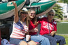 Bunkie, Donna, and Bridgette bring up the rear of the front float in the RedRock RV Park Fourth of July Parade, (July 2, 2012)