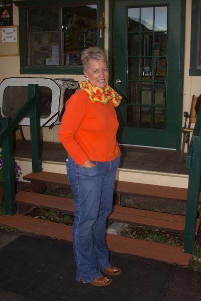 Karen Glenn in front of the RedRock RV Park store. Sep 2012