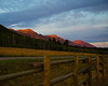 East Centennial mountains and RedRock RV Park front fence at first light. Sep 2013