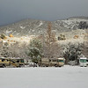 Campers in snow in F section at Silent Valley Club in the San Jacinto Mountains of Southern California. Feb 9, 2013.
