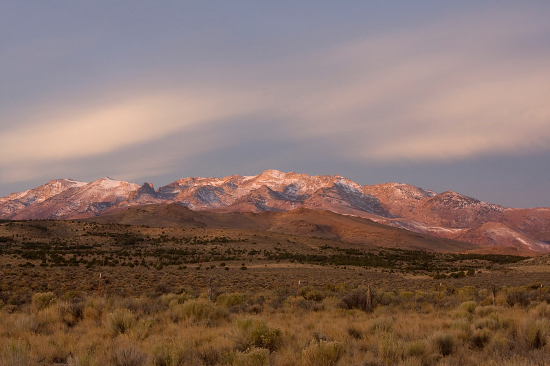 North end of the Ruby Mountains at sunrise from Angel Lake Road, near Wells, NV.